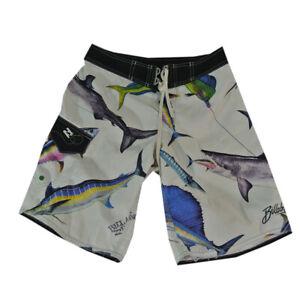 Billabong surf board shorts swim trunks men's small white game fish shark tuna