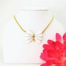 Vintage Crown Trifari White Lucite Butterfly Pendant w/ gold tone snake chain