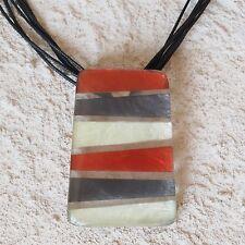 Neu 90cm+6cm KORDELKETTE mit CAPIZ MUSCHEL rot/silber-grau HALSKETTE schwarz