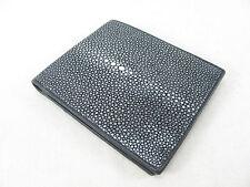 Genuine Black Polished Stingray Skin Leather Mens Bi-Fold Wallet + FREE SHIPPING
