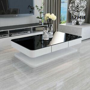 Luxurious Coffee Table Black Glass High Gloss 2 Drawers Office Living Room MDF U