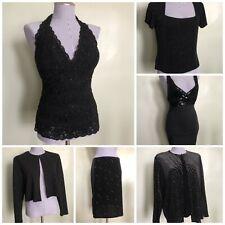 Lot Of 6 Vintage 80s 90s Y2k Party Black Velvet Sparkly Evening Clothing Resale