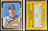 Jim Adduci Signed 1987 Donruss #495 Card Milwaukee Brewers Auto Autograph