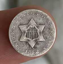 More details for us united states usa 1852 silver 3 cents coin three cents / nice grade