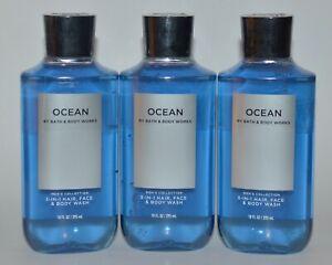 3 BATH BODY WORKS OCEAN 3 IN 1 HAIR FACE BODY WASH SHOWER GEL SHAMPOO 10 OZ MENS
