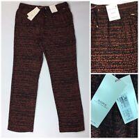 M&S Per Una Roma Range Tapered Trousers UK 16 L BNWT Black Coral  Print Pockets