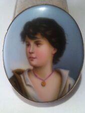 """Vintage Hand Painted Portrait of a Youngster in Porcelain Brooch(2 1/8""""x2 1/2"""")"""