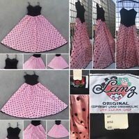 "Vintage Lanz Original Dress  Black Velvet & Pink Satin Polka Dots 60s 26"" waist"