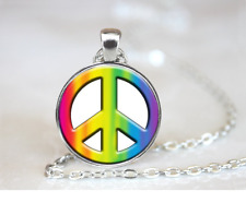 Tie Dye Peace Sign PENDANT NECKLACE Chain Glass Tibet Silver Jewellery