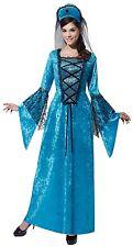 Ladies Blue Renaissance Princess Queen Medieval Fancy Dress Costume Outfit 10-14