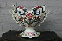 Antique barbotine majolica jardiniere planter vase floral decor