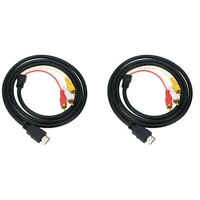 2PCS MI Male to 3 RCA AV Audio Video Cable Adapter 5FT MI to RCA One-Way Tr K3P5