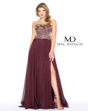 cfc154687b48 MAC DUGGAL 65980F Burgundy Red Beaded Strapless Regal Chiffon Gown Dress  16W NWD