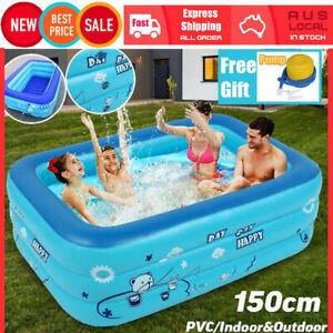 150*110cm Kid Swimming Paddling Pool Inflatable Bathing Tub Outdoor Indoor Game