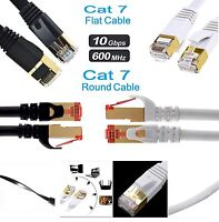 RJ45 CAT7 Network Ethernet SSTP 10Gbps Gigabit Ultra- Patch LAN Flat Round Cable