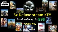 5x DELUX Steam Key + GOLD Key / Value up to 99$