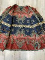 Vintage Ralph Lauren Hand Knit Southwestern Navajo Cardigan Sweater Concho S
