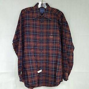 Faconnable Mens Plaid Cotton Long Sleeve Shirt Size M Button Down Collar