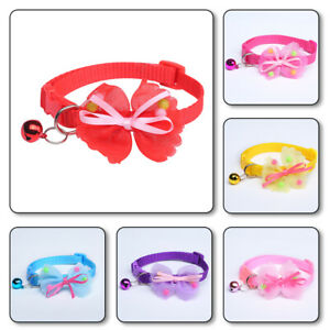 Cute Bow Tie Pets Dog Kitten Cat Collar Nylon With Bells Safety Adjustable