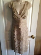 NWOT LONDON TIMES Beige Champagne Shimmery Tiered Sleeveless Cocktail Dress, 12