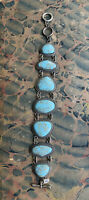 Vintage Faux Turquoise Cabochon 7 Chunky Link Bracelet Silver Tone LOOKS GREAT