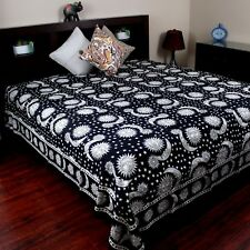 Handmade 100% Cotton Celestial Sun Moon Star Tapestry Coverlet Black White Queen