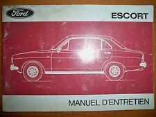 FORD Escort - Manuel d'entretien (notice utilisation carnet entretien emploi)