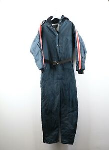 Vintage 80s Mens Size Large Striped Hooded Insulated Winter Snowmobile Snow Suit