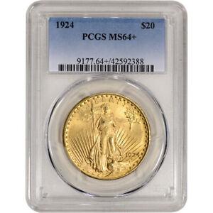 1924 US Gold $20 Saint-Gaudens Double Eagle - PCGS MS64+