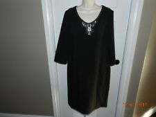 Donna Morgan black women dress Size 16 Cocktail Holiday Dress Beaded neck lined