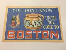 Boston, MA Pot Of Beans Family Come To c1940s Linen Tichnor 32 Postcard Unused!