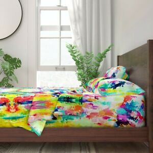 Abstract Modern Fabrics Neon Artsy 100% Cotton Sateen Sheet Set by Roostery