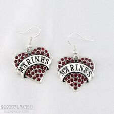 NEW MARINE RED CRYSTAL HEART CHARM SILVER EARRINGS MILITARY SEMPER FI