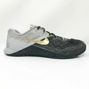 Nike Womens Metcon 3 920461-993 Black Gold Running Shoes Lace Up Size 10.5