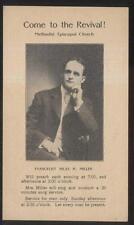 Postcard DELAWARE Ohio/OH  Evangelist Hilas H. Miller Service Promo Card 1920's