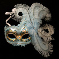 Venetian Mask: Italy. Columbine with Tassels (Half Mask, Light Blue Color)