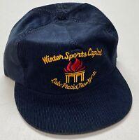1980's Corduroy Lake Placid Snapback Hat, Winter Sports Capital New York Cap