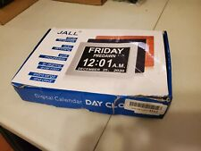 Digital Calendar Alarm Day Clock - with 8� Large Screen Display, Brown