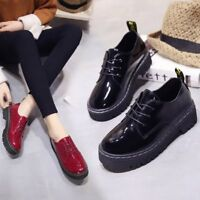 Womens Fashion Creepers Platform Lace Up Wedge Oxfords Chunky Heels Brogue Shoes