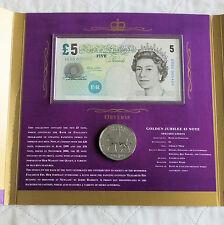 2002 GOLDEN JUBILEE £5 BANKNOTE AND CROWN SET - ER50 000406