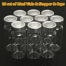10PCS Glass Vial Bottle 10ML w/ Seal Stopper & Flip Cap For 20MM Vial Crimper US