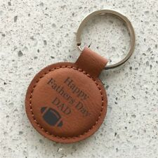Personalised Fathers Day Leatherette Keyring Engraved Dad Pop Grandad Gift