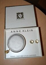 ANNE KLEIN Rose Gold Faceted Clear Stud EARRINGS & Travel Case Gift Box Set NEW