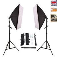 2 x 135w Photo Studio Continuous Lighting Softbox Soft Box Light Stand Kit set