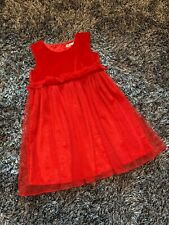 WORN ONCE - LUCIE ET COCO RED VELVET & MESH DRESS - 2 - 3 YEARS
