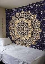 Gold Lotus Mandala Tapestry Ethnic Big Wall Hanging Bedspread Hippie India Decor