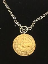"""Elizabeth I Quarter Angel Coin WC51 Gold On a 16"""" Silver Plated Chain Necklace"""
