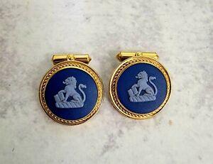 12K Gold Filled DESTINO Wedgwood Dark Blue Lion Jasperware Cufflinks