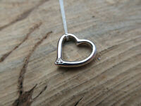 Sterling silver And Diamond Heart shaped Pendant Chain Necklace