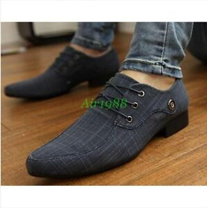 New Cool Men's Casual Pointed toe canvas Wedding Formal Dress Shoes Oxfords A028